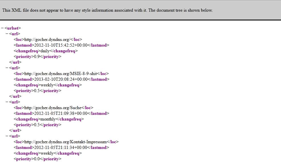ansprechende google sitemap gocher udo schmal